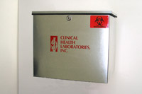 courier collection box, metal box, collection box,  lab specimen pickup box,